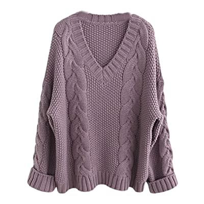 WSPLYSPJY Women Winter V Neck Long Sleeve Solid Cable Jumpers Knit Sweater