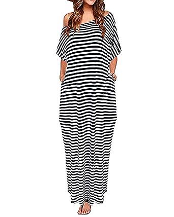 c917025ab3b67 ZANZEA Women One Off Shoulder Maxi Dress Short Sleeve Split Stripe Kaftan  Dress Stripe S
