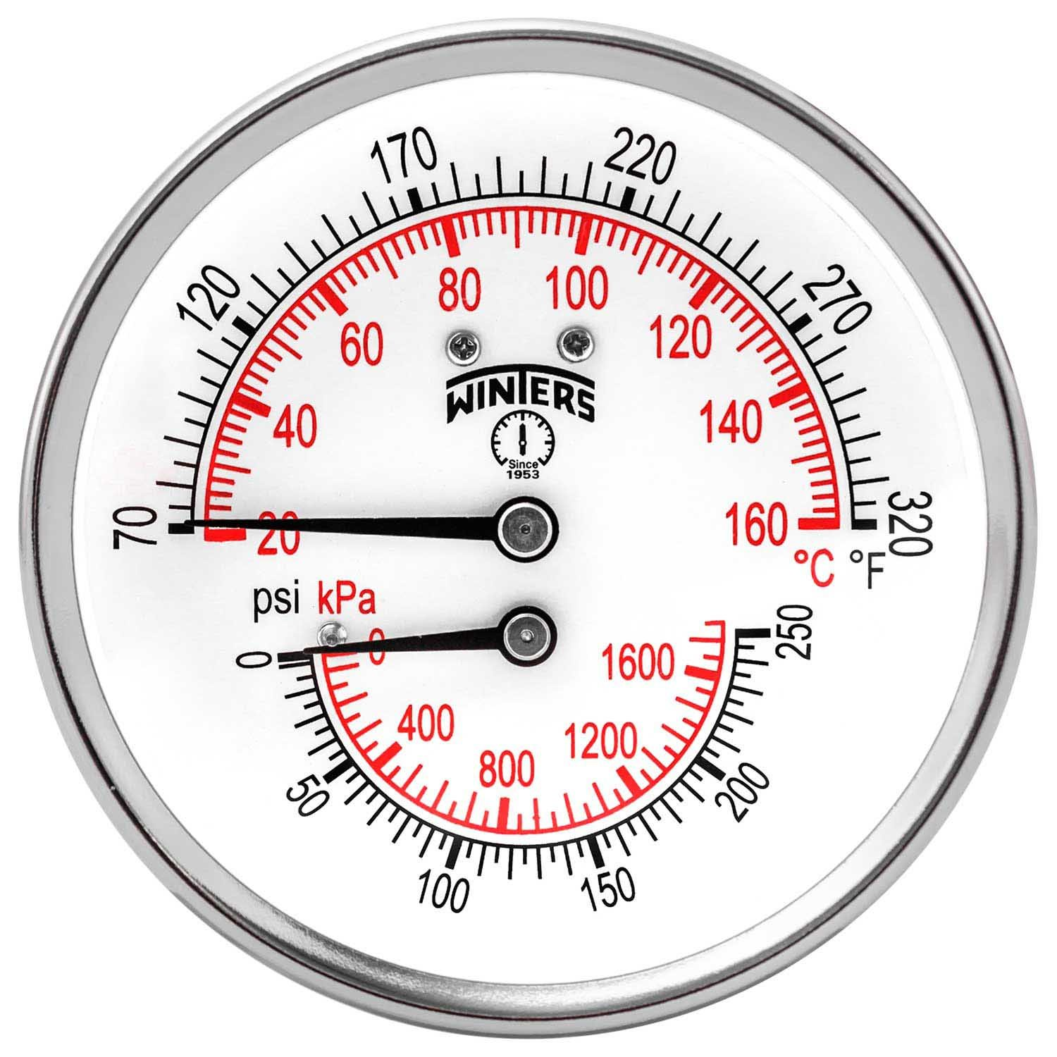 Winters TTD Series Steel Dual Scale Tridicator Thermometer with 2'' Stem, 0-250psi/kpa, 3'' Dial Display, ±3-2-3% Accuracy, 1/2'' NPT Back Mount, 70-320 Deg F/C