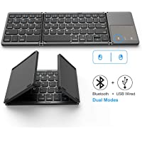 Foldable Bluetooth Keyboard, Jelly Comb Dual Mode Bluetooth & USB Wired Rechargable Portable Mini BT Wireless Keyboard…