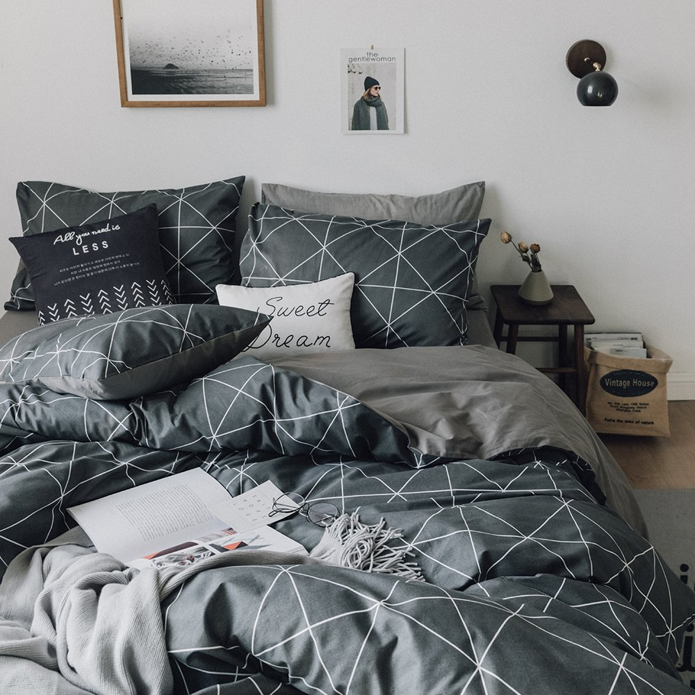 HIGHBUY Geometric Bedding Sets King Duvet Cover Grey Boys Men 100 Percent Cotton Comforter Cover Set 3 Pieces Plaid Grid Pattern Duvet Cover Sets Reversible Teens King Bedding Collection