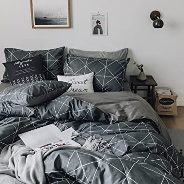 HIGHBUY Premium Cotton Full Bedding Sets Grey Comforter Cover Set Queen Duvet Cover for Boys Men Geometric Plaid Duvet Cover Full 3 Pieces Full Queen Bedding Collection,Lightweight