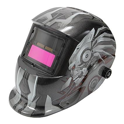 SODIAL mascara casco de soldadura de oscurecimiento auto solar patron de calavera mascara de soldador de
