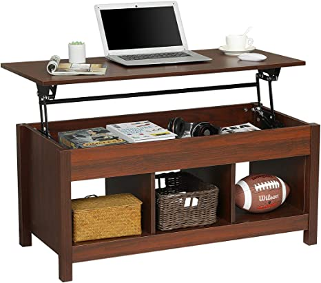 Amazon Com Itaar 41 Lift Top Coffee Table With Hidden Storage Compartment Shelf Modern Lift Tabletop Dining Table For Living Room Cherry Red Kitchen Dining