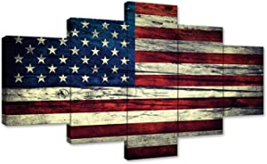5 Panels Vintage Wooden American Flag Canvas USA Flag Print Art American Home Decoration American Wall Art Living Room Modern Poster Painting Frame Ready to Hang