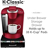 K-Classic Coffee Maker, Rhubarb & Under Brewer Storage Drawer Holds 35 K-Cup Coffee Pods