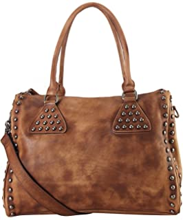 486b9c79b1 Diophy Genuine Leather Studded Décor Design Large Tote Womens Purse Handbag  150357