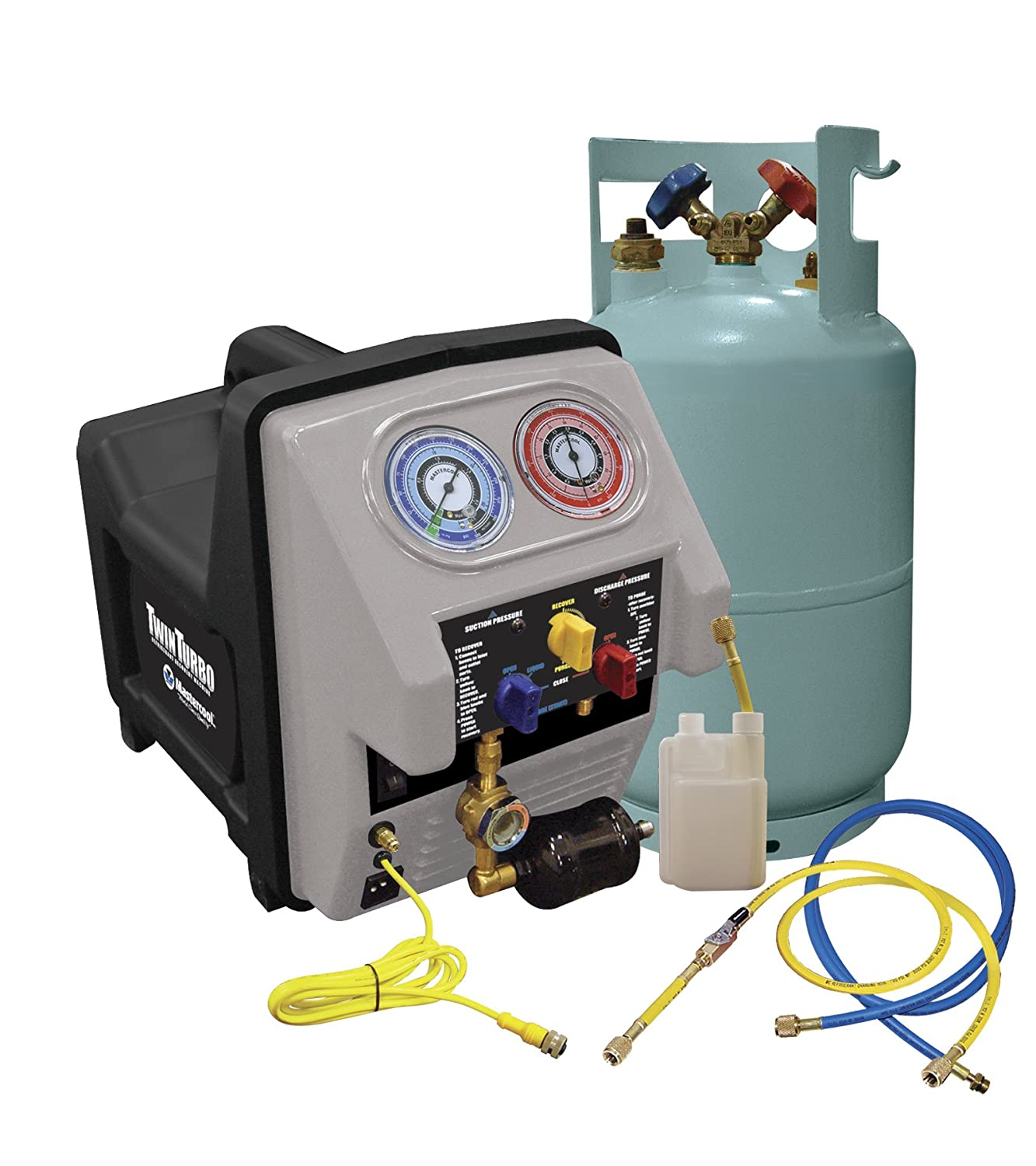 Mastercool (69360) Black/Gray Twin Turbo Complete Refrigerant Recovery System