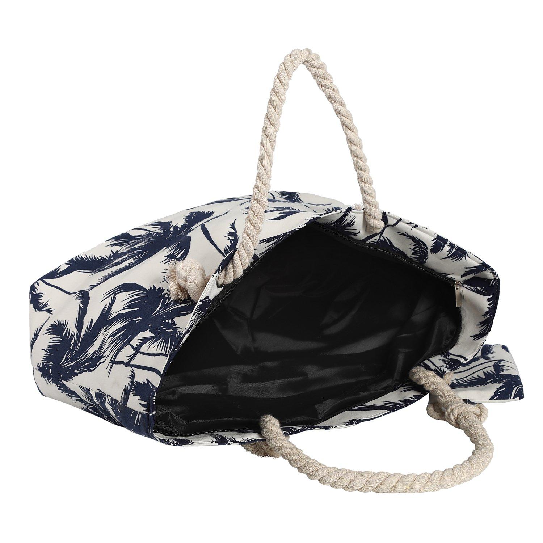 Bolso de Playa Grande Impermeable con Cremallera Bolso de Hombro Flamencos Azul