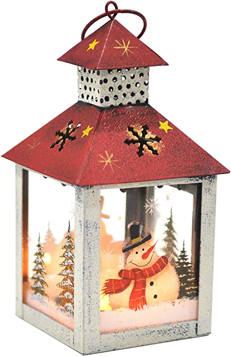 Christmas Candle Lantern Decoration Snowman Decorative Candle Holder Rustic Hand Painted Metal And Glass Table Centerpiece Or Hanging Lantern Holder Christmas Home Decorations White Kitchen Dining