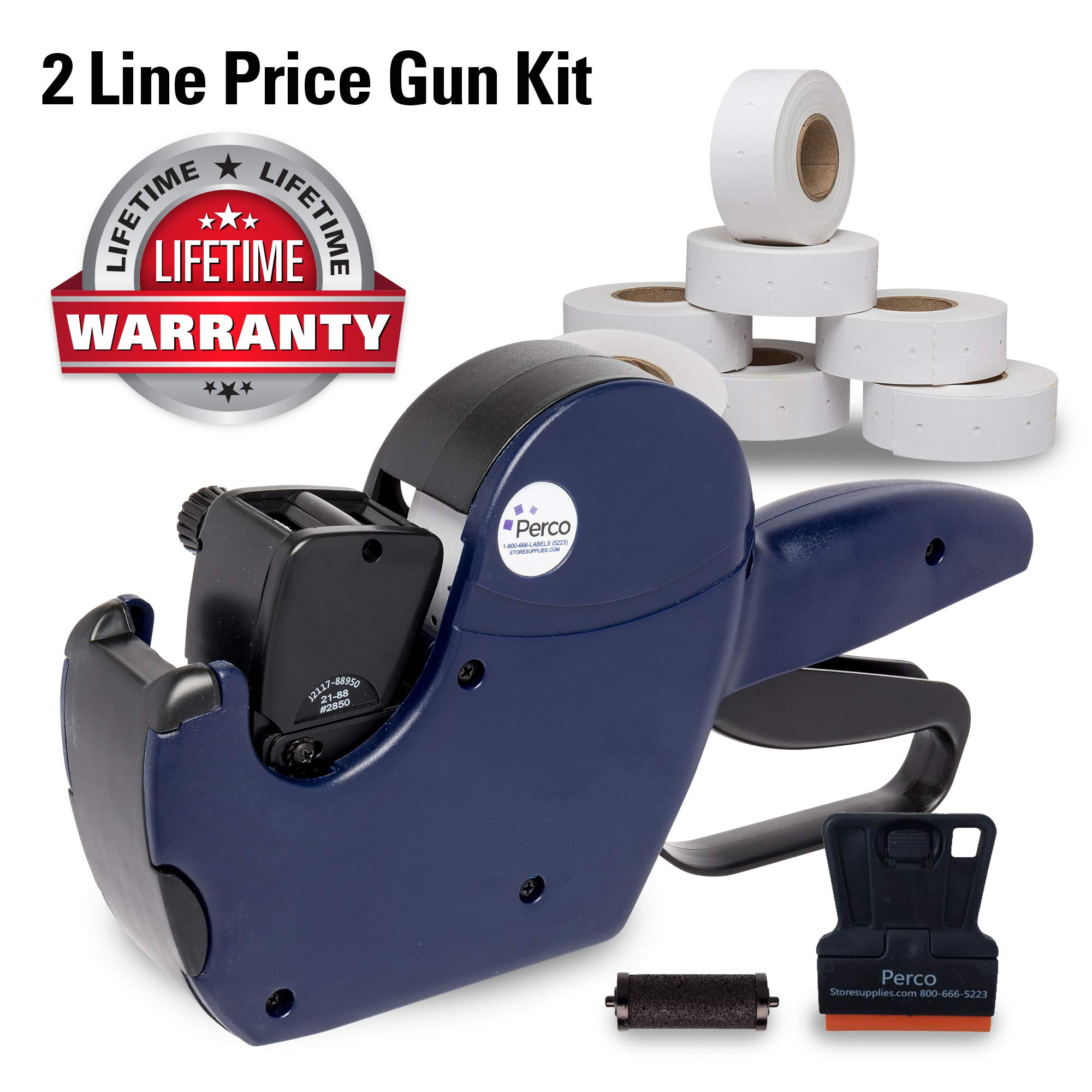 Perco 2 Line Price Gun: 8 Digit 2 Line Price Label Gun Preloaded with Roll of 750 White Labels & Inker by Perco