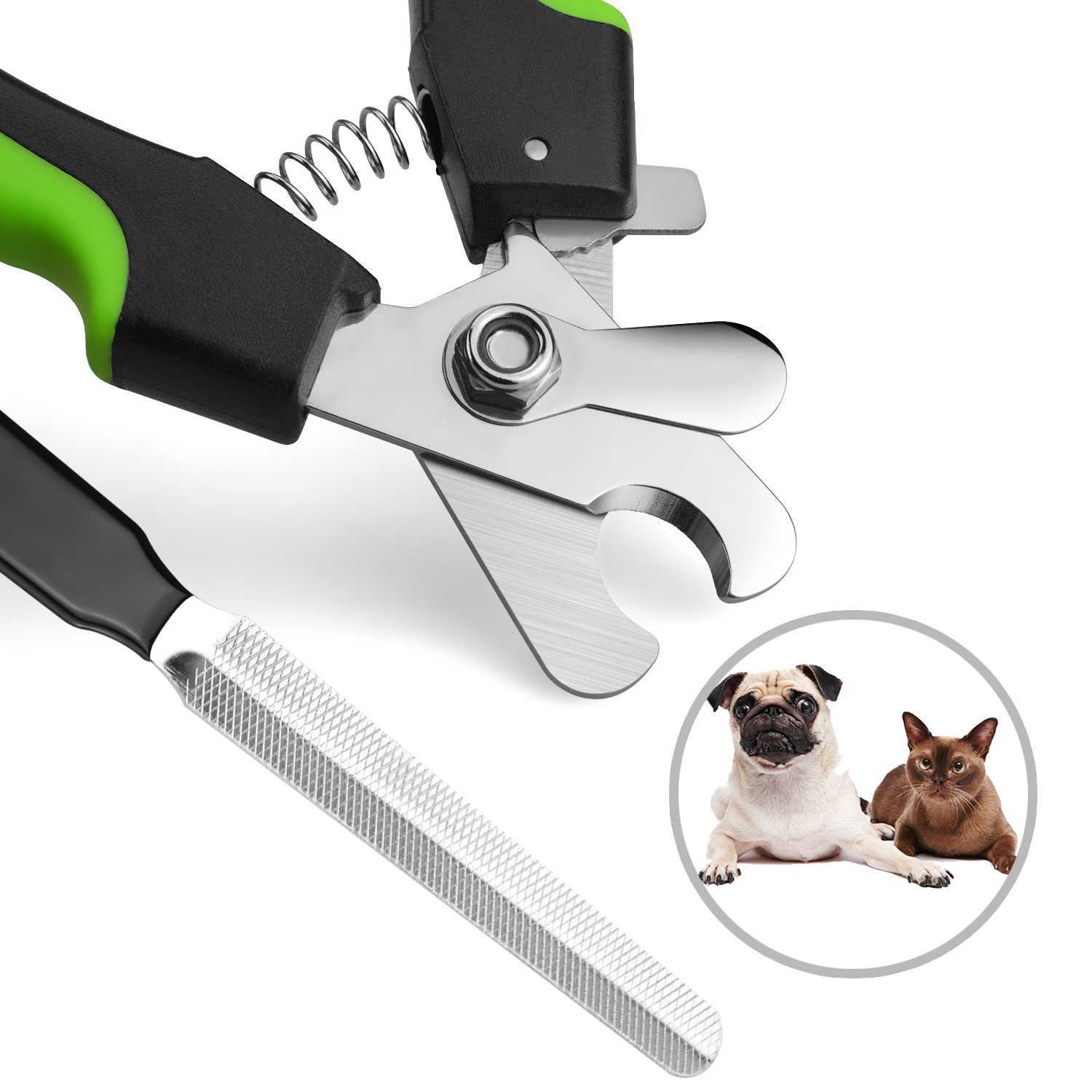 Dog Nail Clippers Trimmers including Free Nail File to Groom Nails at home with Safety Guard to Avoid Over cutting Nail, Ergonomic Handles for Safe Grooming Pet Nails By WLWQ