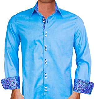 product image for Light Blue with Purple Designer Dress Shirts - Made in USA