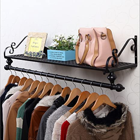 Amazon.com: LIANGJUN Wall Mounted Iron Coat Hat Rack Books ...