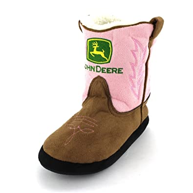Amazon.com | John Deere Girls Pink Cowboy Boot Slippers (L/XL 3-5 ...