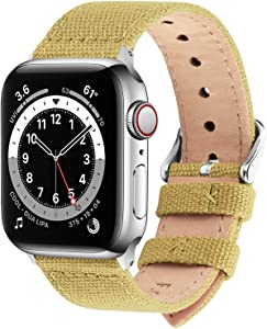 Fullmosa Compatible Apple Watch Band 44mm 42mm 40mm 38mm, 8 Colors Canvas Style for iWatch Strap Compatible with Apple Watch Series 4/5/6/SE (44mm) Series 3/2/1 (42mm),44mm 42mm Pear Yellow
