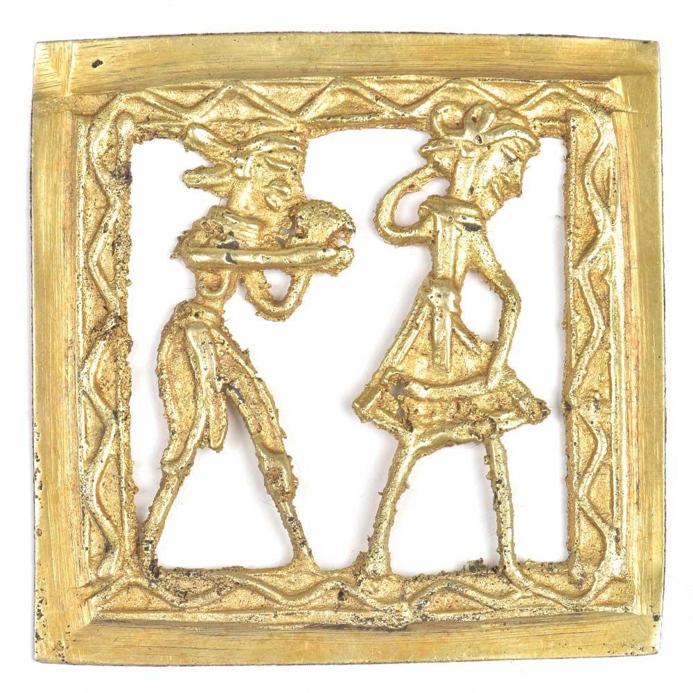 IndianShelfハンドメイドゴールデン真鍮Dhokra Tribal Couple Enjoying Dancing壁アートオンライン B075QDMSR1