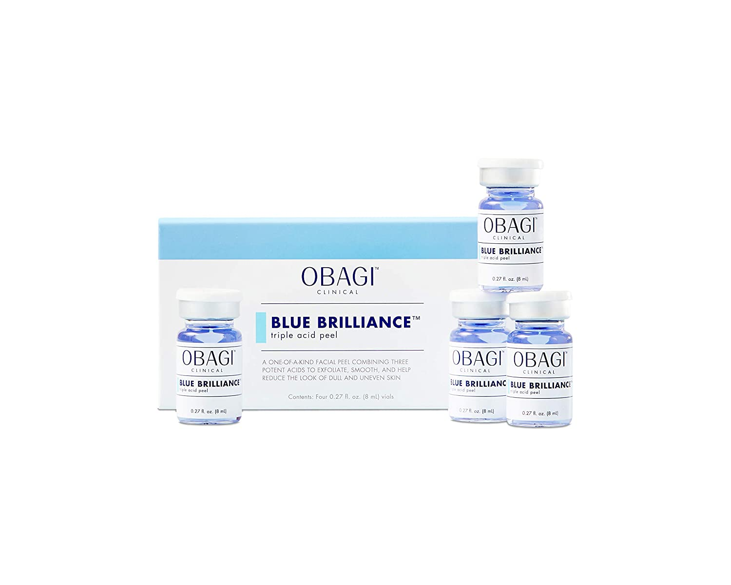 Obagi Clinical Blue Brilliance Triple Acid Peel 4 Piece Kit (0.27 Fl Oz Per Vial)