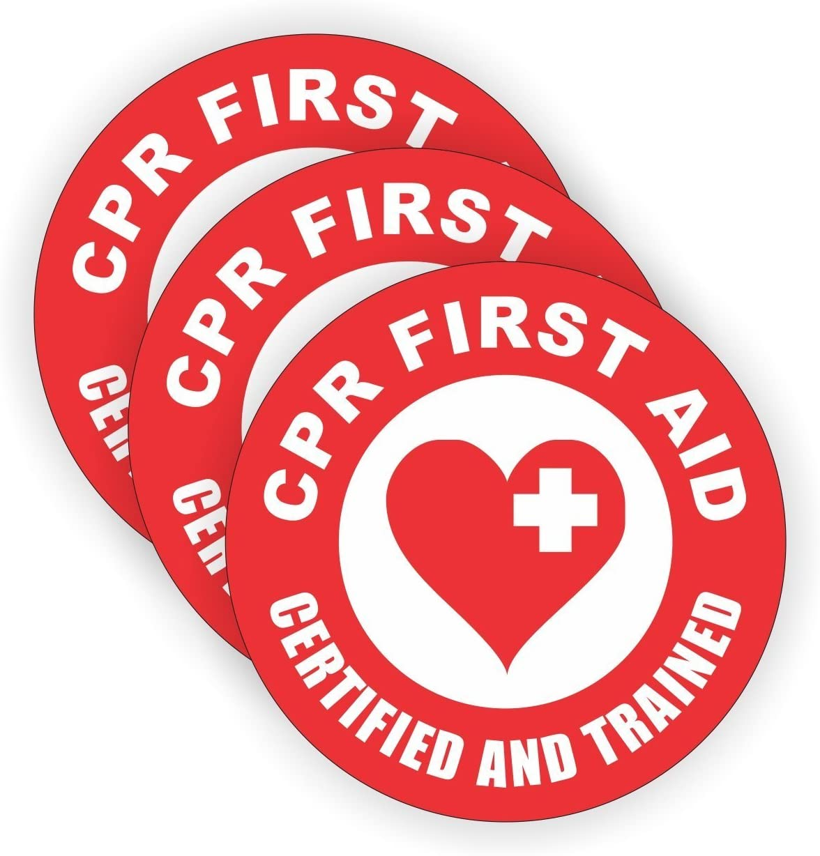 """size: 2/"""" color: Red//White HardHat Sticker CPR First Aid Certified 3 Pack"""