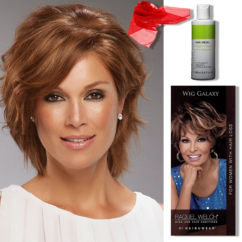 Amazon.com   Sophia Wig Color 24BRH18 - Jon Renau Wigs Short Shag Remy  Human Hair Lace Front Monofilament Top Hand Tied Cap Bundle with MaxWigs  Hairloss ... d9ef45026
