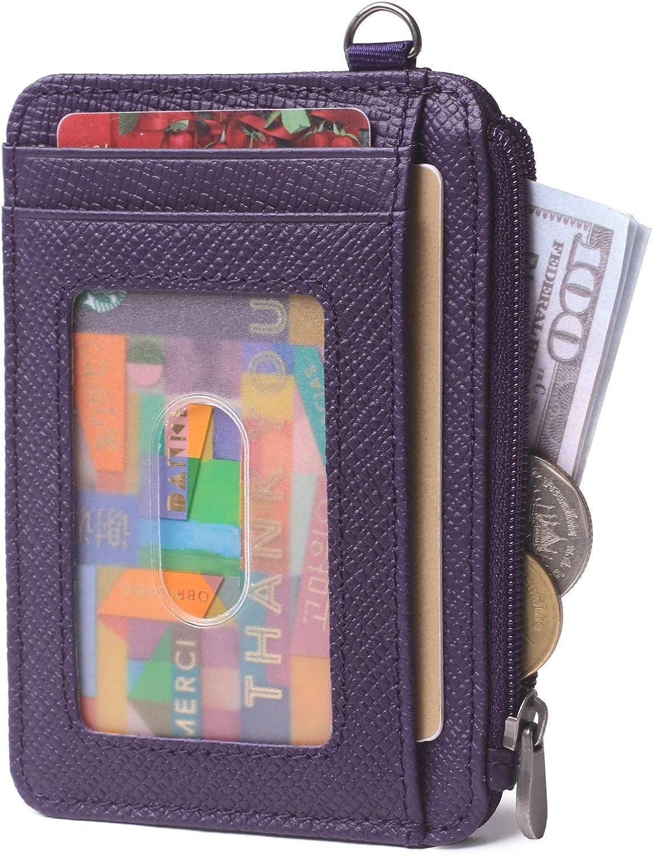 Slim Minimalist Wallets Front Pocket Credit Card Holder RFID Blocking Leather Zipper Coins Purse for Women & Men