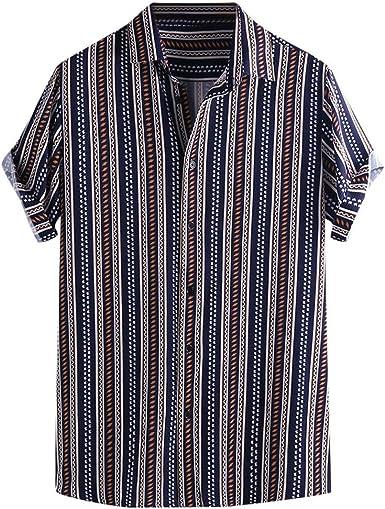 CAOQAO Camisas Hombre Manga Corta Hawaiana Camisa El Verano Estilo Nacional Transpirable Ropa de Hombre Guapo: Amazon.es: Ropa y accesorios