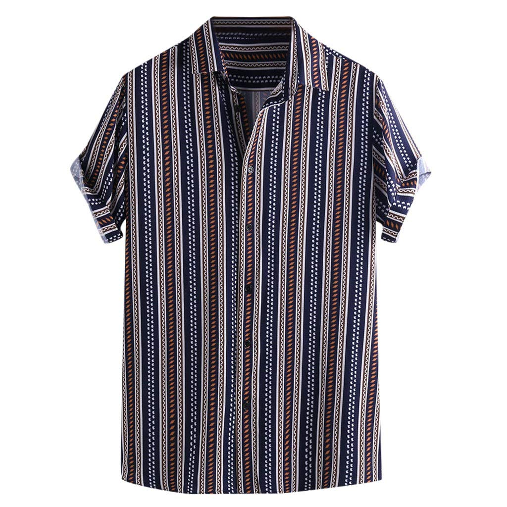 Letdown/_Men tops Men Button Down Shirt Short Sleeve Slim Fit Colorful Stripe Summer Casual Loose Fashion Shirt Blouse