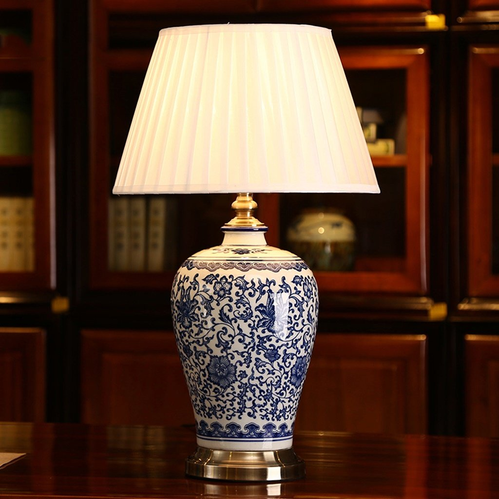 blue and white bedroom lamps