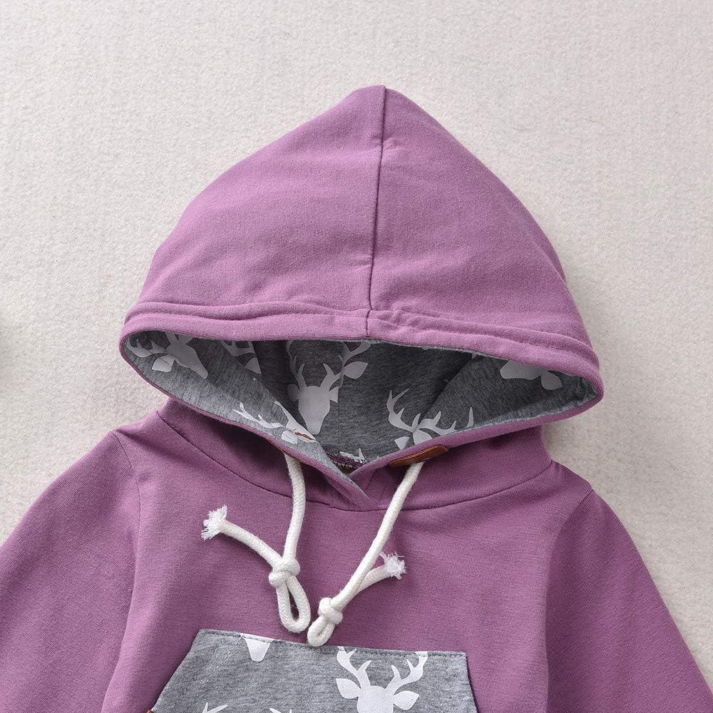 Newborn Baby Boy Deer Head Print Clothes Set Infant Top Pants Toddler Hoodies Outfit Set