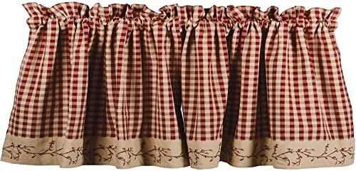 Primitive Home Decors Berry Vine Check Valance – Barn Red