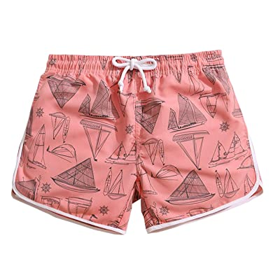 KM Couple's Beach Shorts/Surf Shorts With Pocket Quick Dry Casual#Pink
