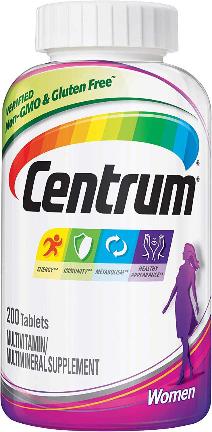 Centrum Multivitamin for Women, Multivitamin/Multimineral Supplement with Iron, Vitamins D3, B and Antioxidants - 200 Count
