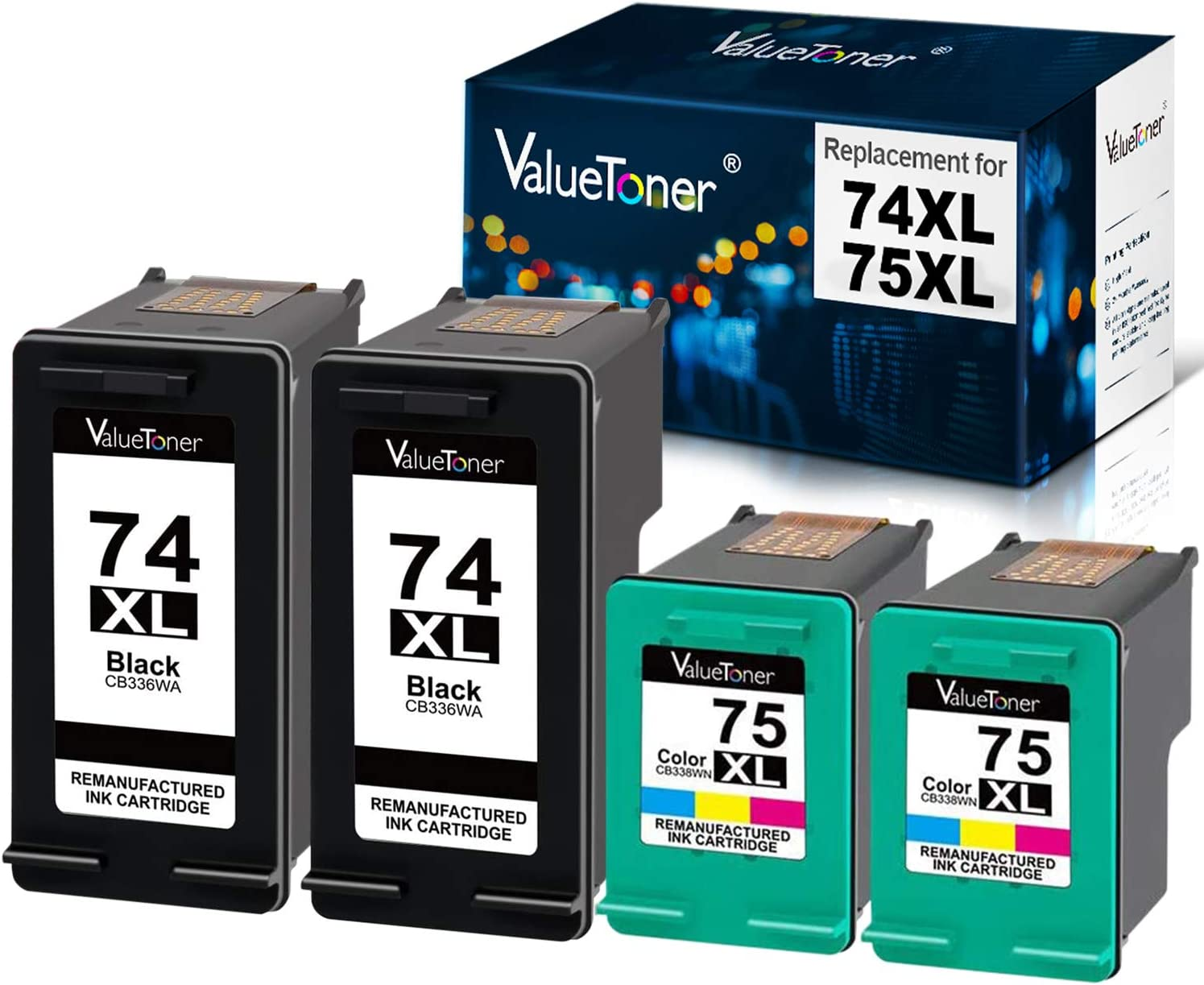 Valuetoner Remanufactured Ink Cartridge Replacement for HP 74XL & 75XL High Yield CB336WN CB338WN (2 Black, 2 Tri-Color) 4 Pack