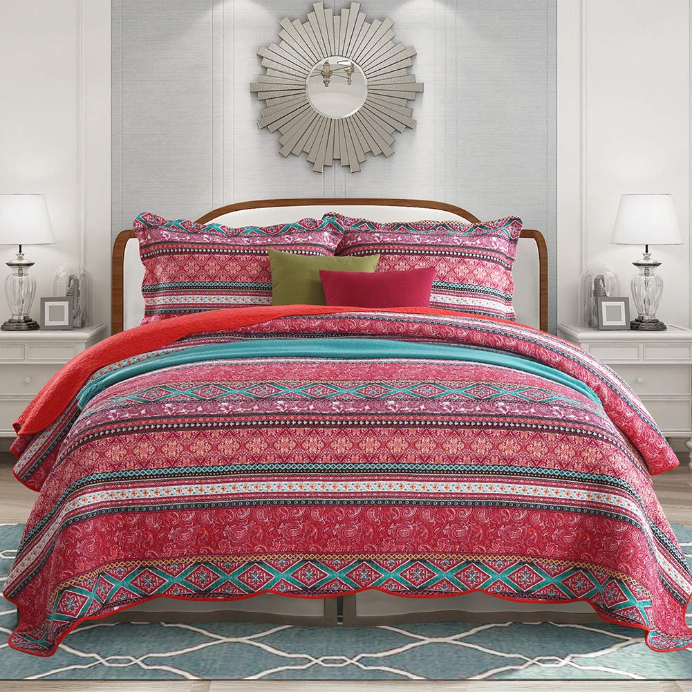 NEWLAKE Cotton Bedspread Quilt Sets-Reversible Patchwork Coverlet Set, Striped Bohemian Pattern,Queen Size
