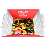 """GDEALER BBQ Grill Basket 14""""x12"""" Barbecue Grill Basket Grill Pan for Veggies, Chicken, Meats and Fish, Professional 430 Grade Stainless Steel, Silver"""