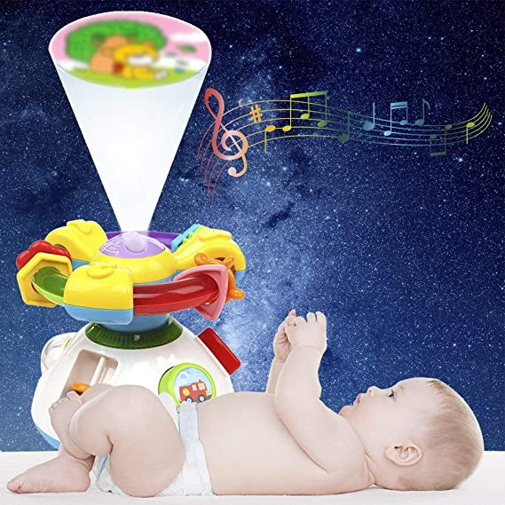 Kiddale Steering Wheel Toy with Light, HD Projection, Music, Sound, Lullaby, Shape and Color Cognition, Simulated Driver and Baby Bed Night Toy-Multicolor
