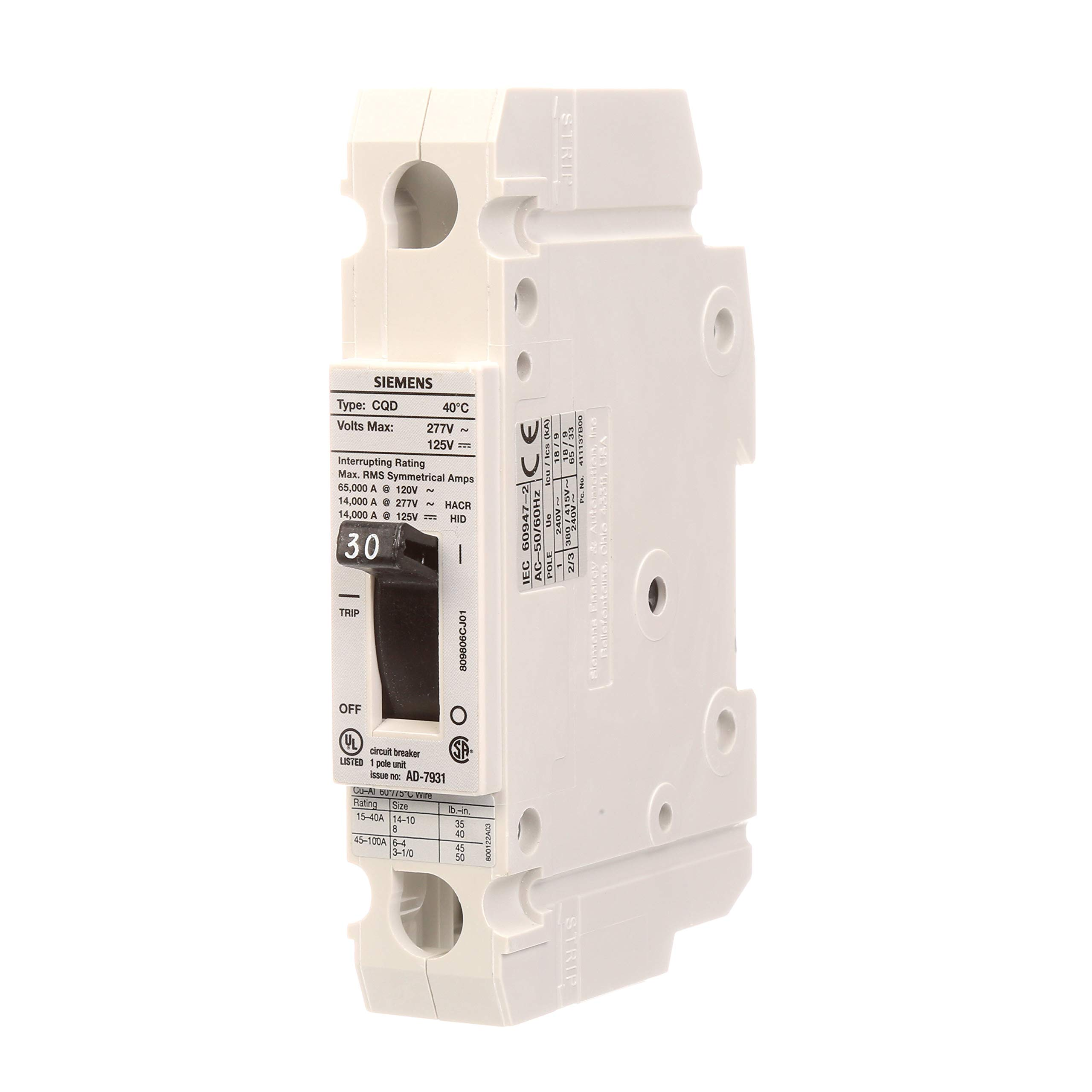 Siemens CQD130 30-Amp Single Pole 277V AC / 125V DC 14KAIC Cable In/Cable Out Breaker