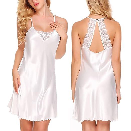 6cacc850e42d Acecor Women s Silk Kimono Robe Long Stain Full Slip Nightgown Sleepwear