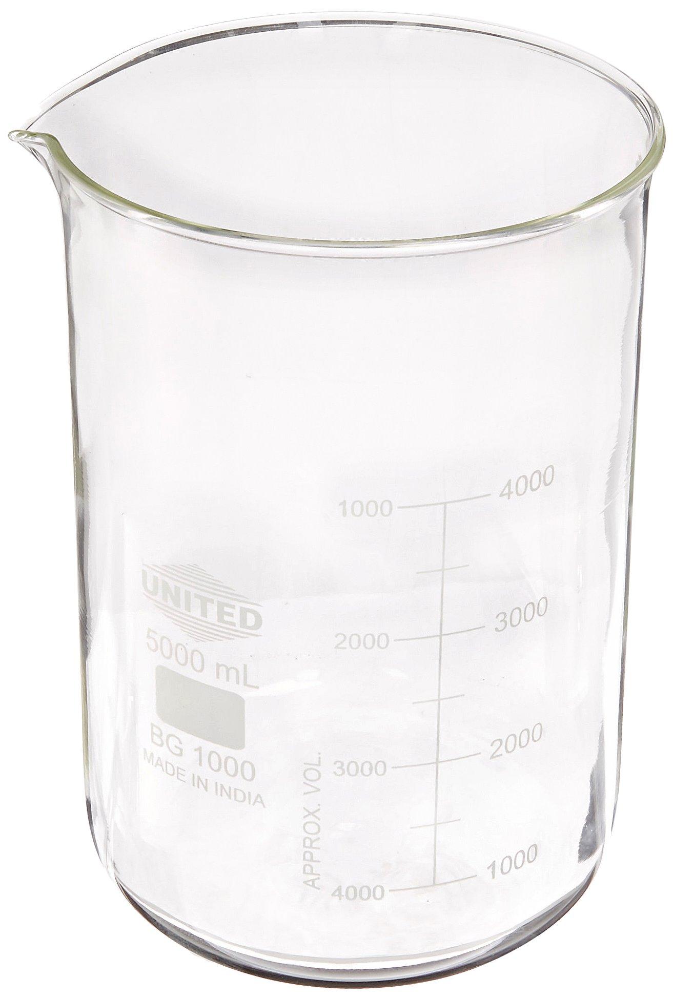 United Scientific BG1000-5000 Borosilicate Glass Low Form Beaker, 5000ml Capacity