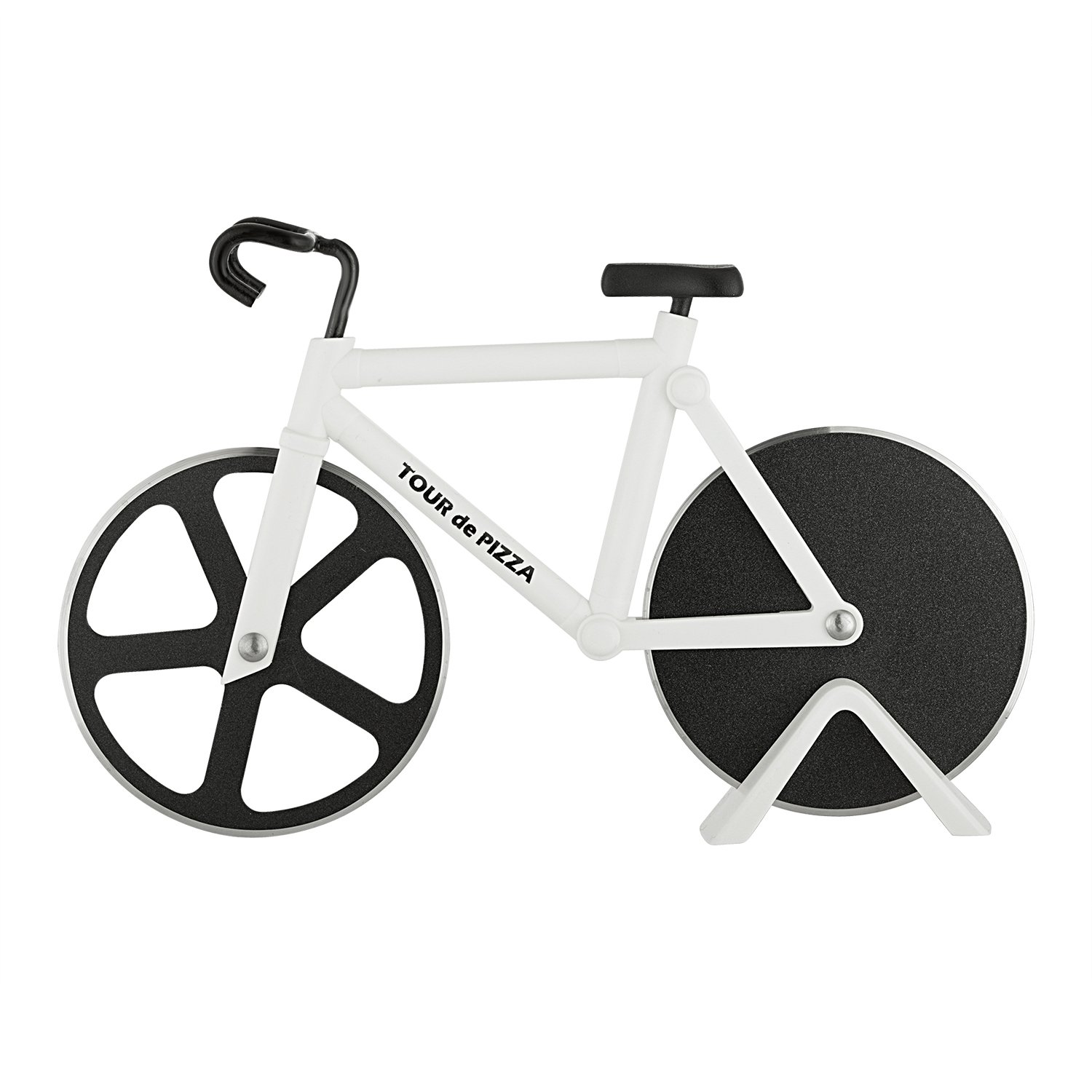 Bicycle Pizza Cutter - TOUR de PIZZA - Dual Stainless Steel Non-Stick Cutting Wheels - Display Stand - A very Cool Gift for the Kitchen by SoHo Kitchen COMINHKPR113429