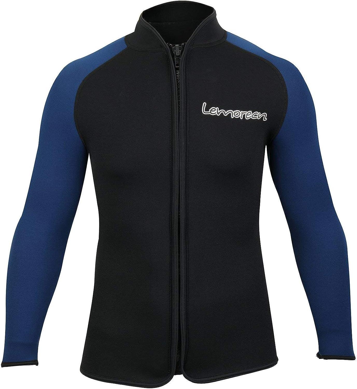 Lemorecn Adult's 3mm Wetsuits Jacket Long Sleeve Neoprene Wetsuits Top