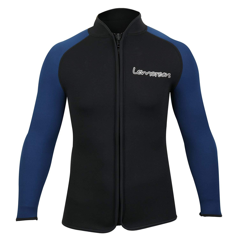 Lemorecn Adult's 3mm Wetsuits Jacket Long Sleeve Neoprene Wetsuits Top (2031blackblueM)
