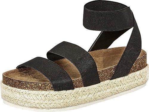 11579650a7a Cambridge Select Women's Open Toe Stretch Strappy Chunky Espadrille  Flatform Sandal
