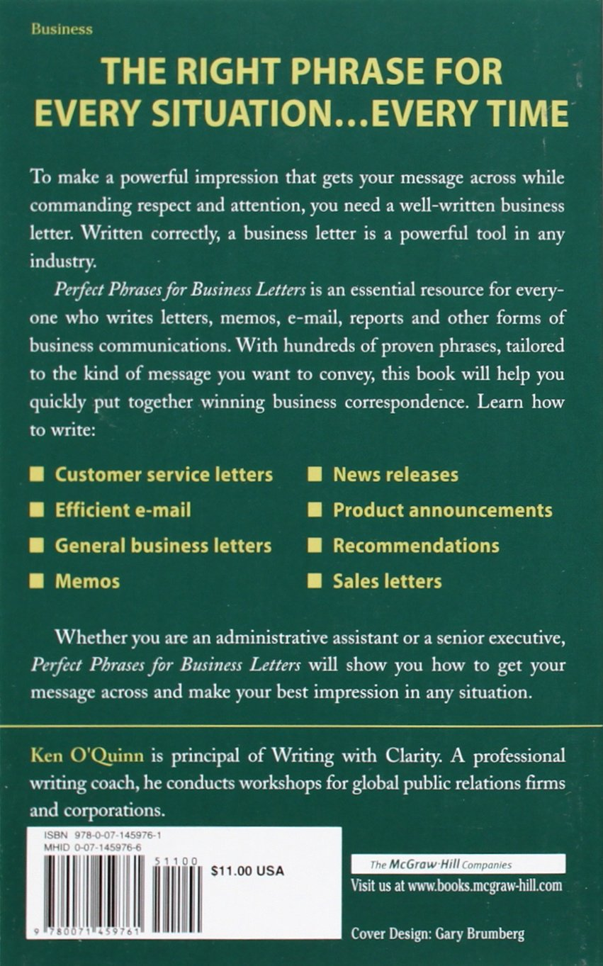 Perfect Phrases For Business Letters Perfect Phrases Series Ken O