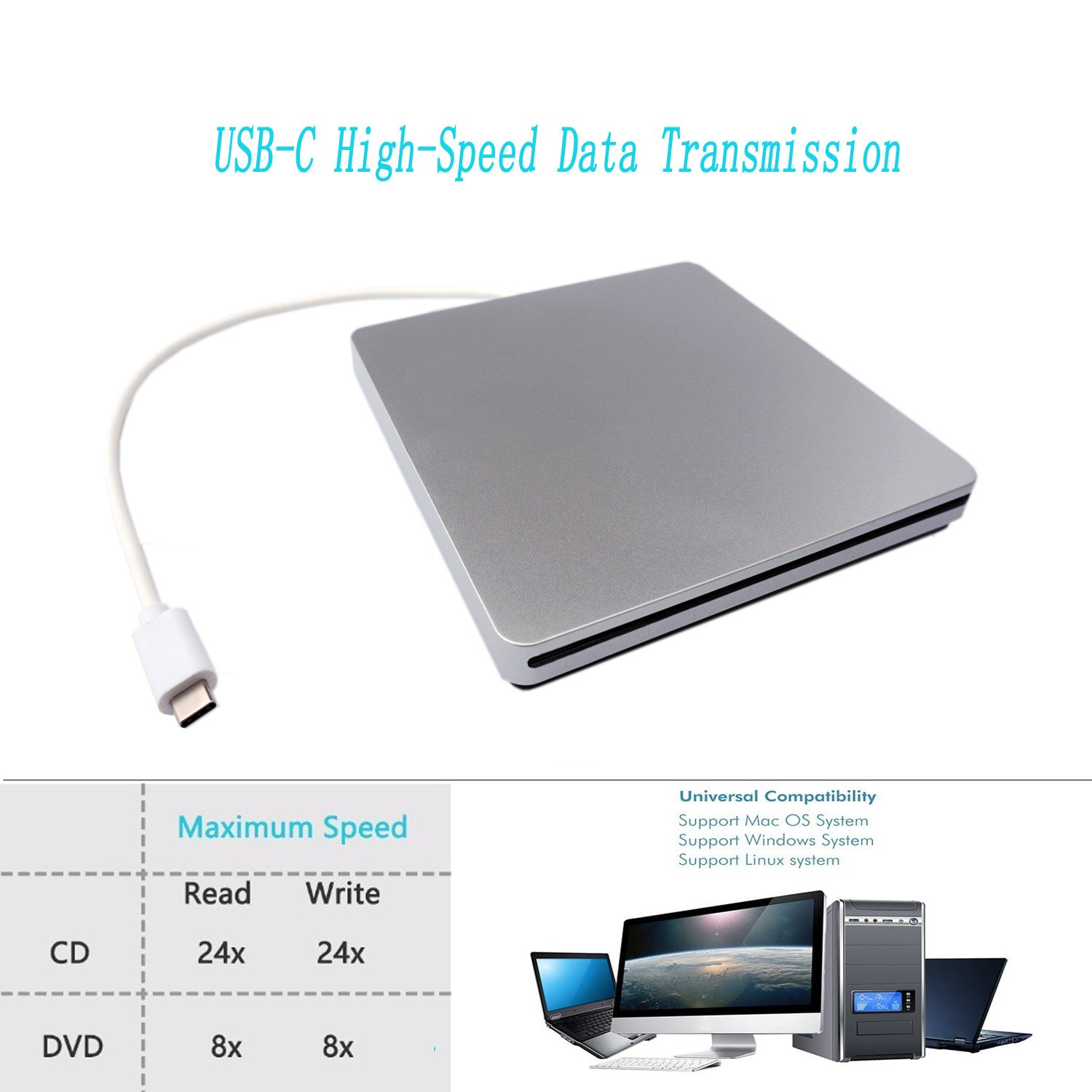 TPfeel USB C DVD Drive External Type C Superdrive Slot-in CD DVD-RW Burner Drive for Apple MacBook iMac and Other PC with USB C Port