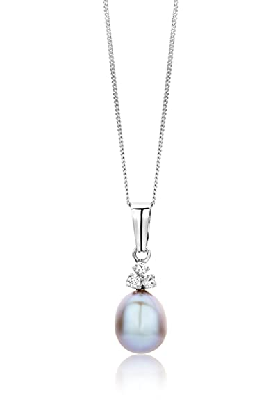 Miore Necklace - Pendant Women Freshwater Pearl Chain with Brilliant Cut Diamond White Gold 18 Kt/750 Chain 45 cm iQARjq