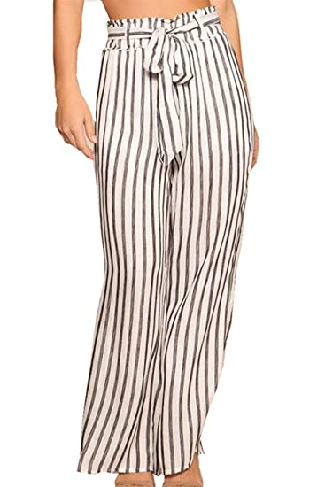 39af04f9e Vepodrau Women High Waist Wide-Leg Stripes Paperbag Long Pants with Belt at  Amazon Women's Clothing store: