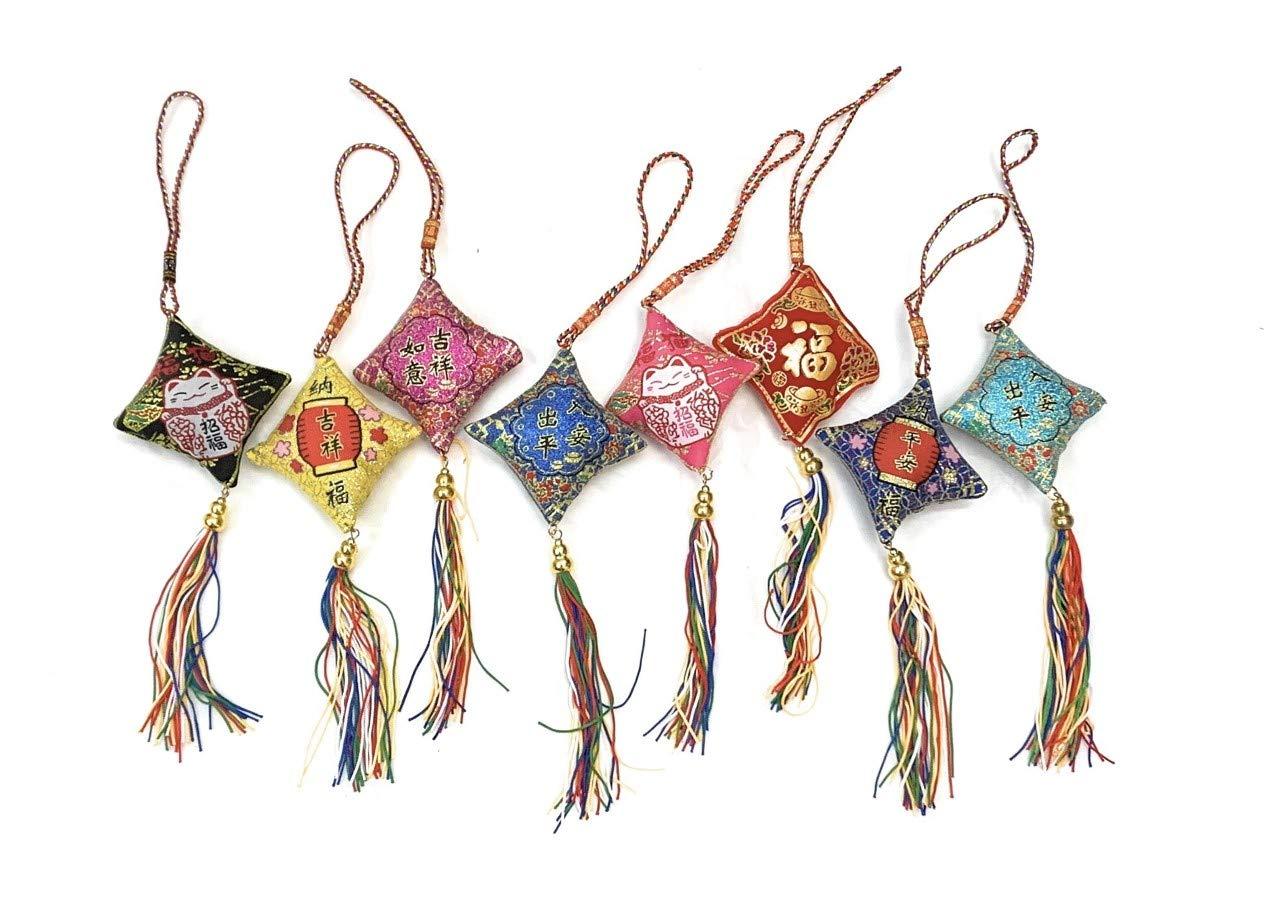 Caprilite Un Conjunto de 4 Bolsas Colgantes para Coche con Borla Cuadrada de la Suerte Feng Shui, Regalo de añ o del Cerdo Regalo de año del Cerdo