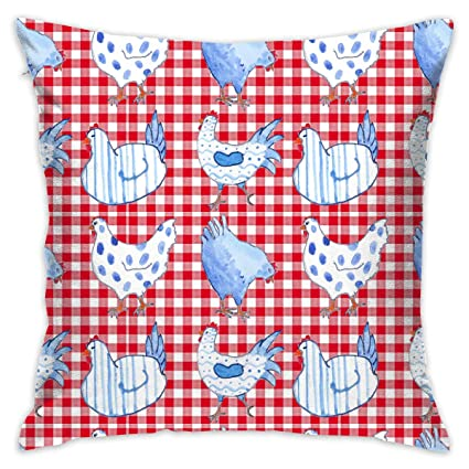 Amazon.com: Chicken Red Gingham Square Throw Pillow Decorative Couch ...
