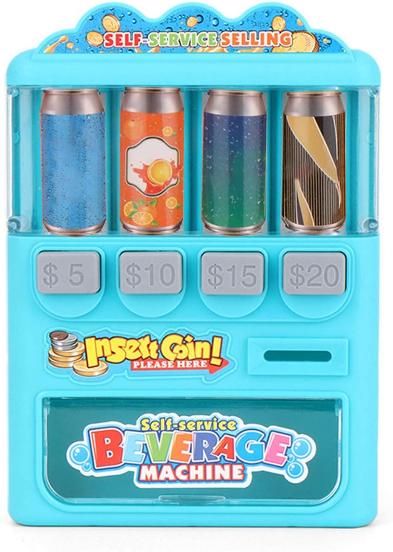 Dontdo Máquina expendedora de juguetes para niños y niñas, máquina expendedora de bebidas, educación, aprendizaje de compras, juego de chico y niña, juego de casa, juguete azul